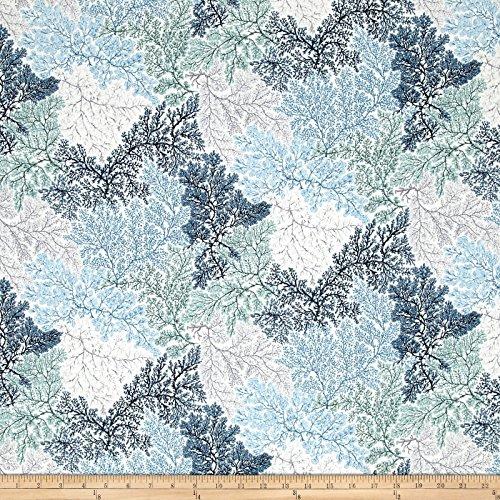 Hoffman Fabrics Coastal Drift Metallic Sea Coral Seagrass/Silver Fabric By The Yard Grass Coral