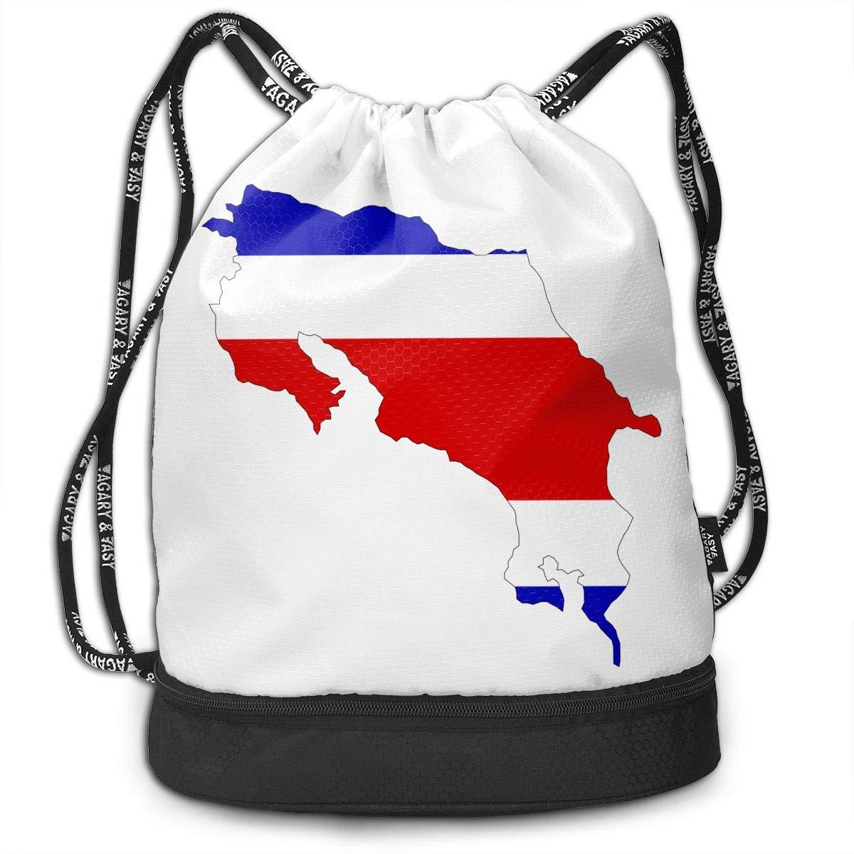 HUOPR5Q Costa-rica Drawstring Backpack Sport Gym Sack Shoulder Bulk Bag Dance Bag for School Travel