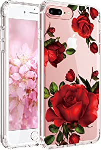 JAHOLAN iPhone 7 Plus Case, iPhone 8 Plus Case Girl Floral Clear TPU Soft Slim Flexible Silicone Cover Phone Case for iPhone 7 Plus iPhone 8 Plus - Big Red Rose