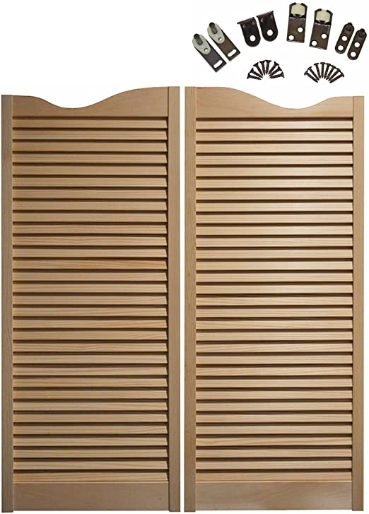 Made From Sturdy Pine Wood-Cafe Doors Hinges Included 30x42, Brass Hinges Cafe Doors Premade