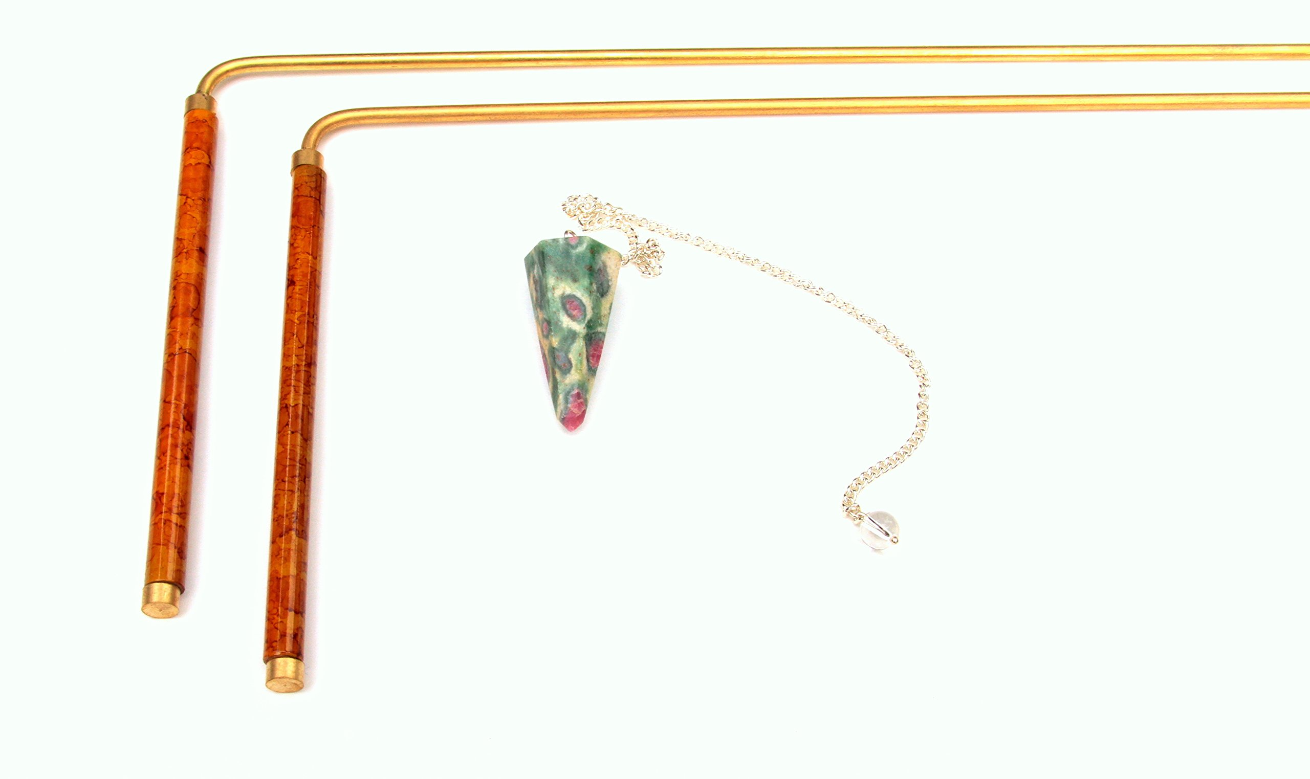 Intuitive Doodlebug Dowsing Rod Set includes 2 Divining Rods with Enamel Coated Copper Handles, Ruby Zoisite Pendulum known to Enhance Psychic Abilities, both great tools to Explore the Art of Dowsing