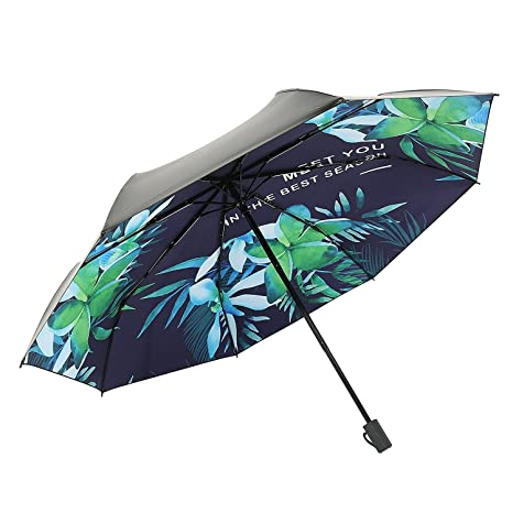 Eastever Mini Portable UV Protection Sun Umbrella, Unbreakable Folding Travel Golf Umbrellas for Women Girls