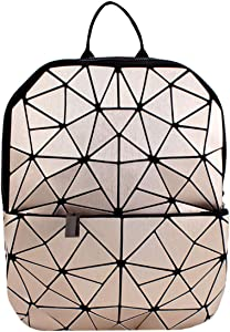 Van Caro Leather Luminous Backpack Geometric Reflective Travel Rucksack for Women Girls (Light Gold)