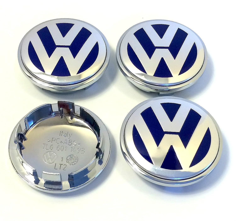 Juego de chapas de 4 Volkswagen logotipo de plata azul 70 mm, curvada, aleación rueda central tapacubos emblema de Volkswagen Vento de golf Polo, Bora, ...