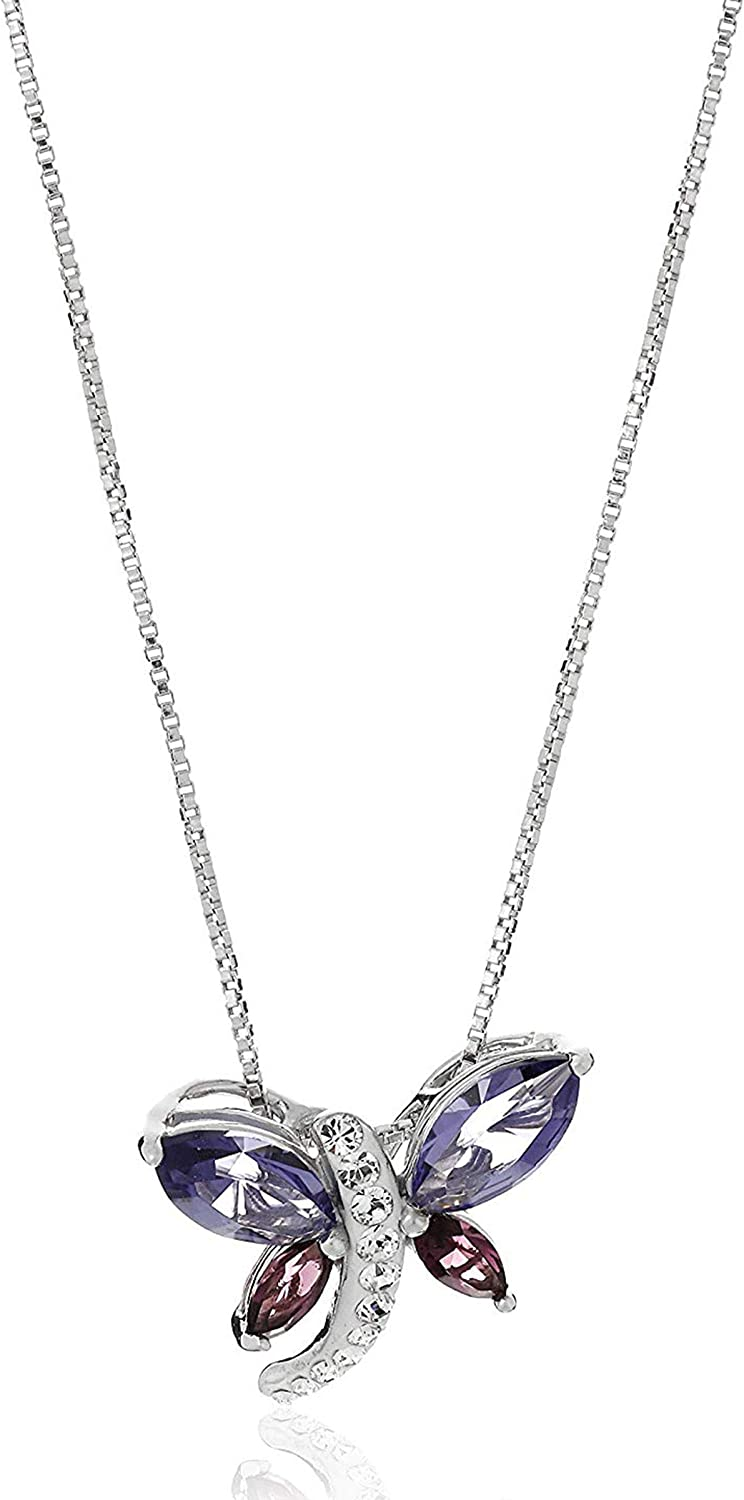 Silver Chain Necklace With A Large DRAGONFLY Love Heart Hoop And Pink Crystal