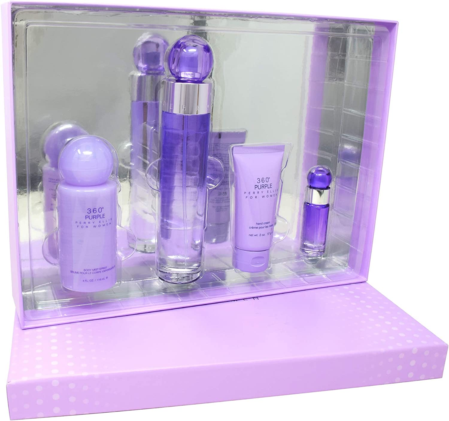 Perry Ellis 360 Purple by Perry Ellis Gift Set 3.4 oz Eau De Parfum Spray + .25 oz Mini EDP Spray + 2 oz Hand Cream + 4 oz Body Spray (Women)