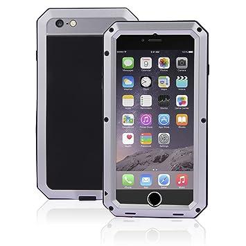 SAVFY - Resistente de Aluminio del Metal Carcasa Protectora Protector Funda Para iPhone 6 6S 4.7 inch a Prueba de Golpes y Suciedad (Plata)