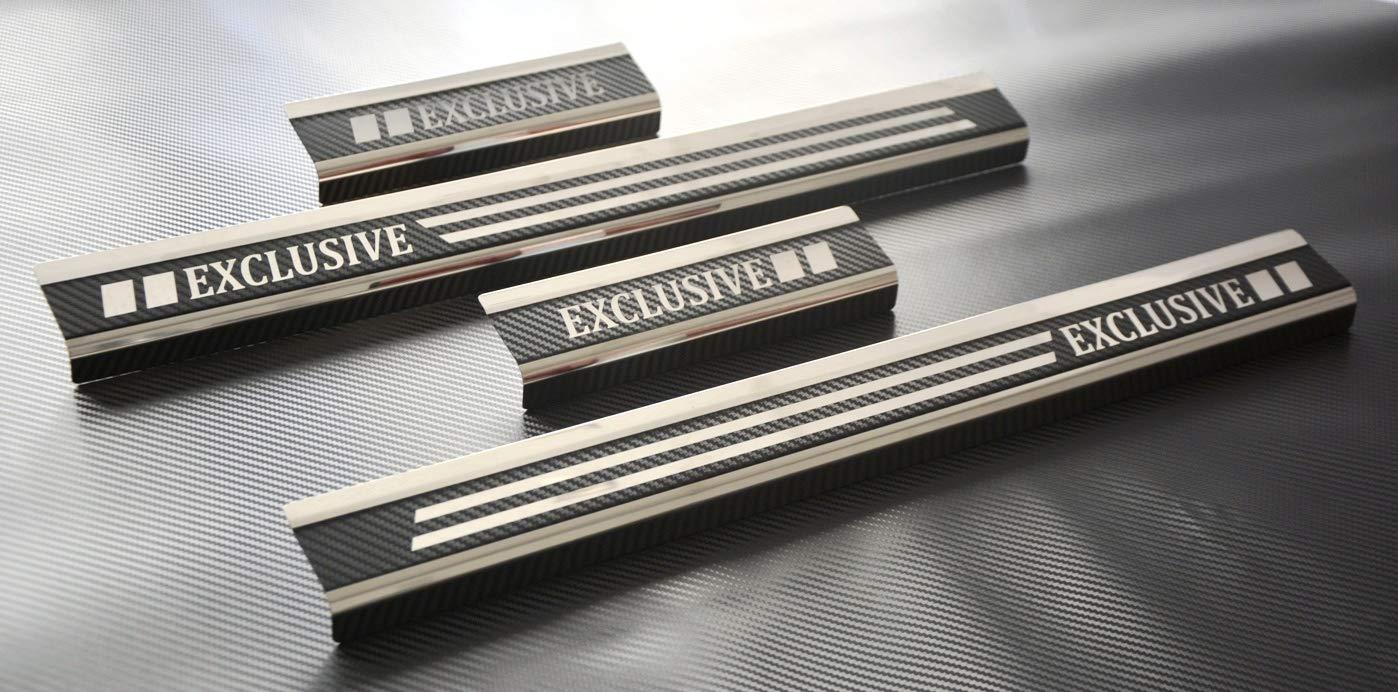 V-Protect Exclusive Edelstahl Einstiegsleisten Einstiegssutz Lackschutz Edelstahlschutz Schwellerleisten mit Abkantung 3D Carbon 2024-401