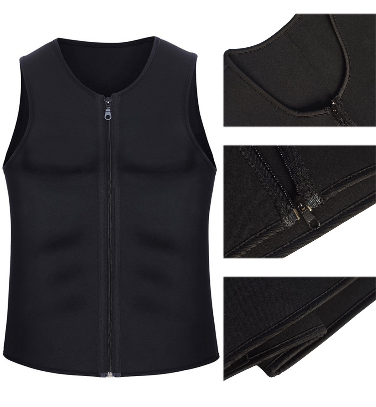 IFLOVE Mens Body Shaper Hot Sauna Vest Sweat Slimming Tank Top with Zipper for Weight Loss Fat Burner Neoprene