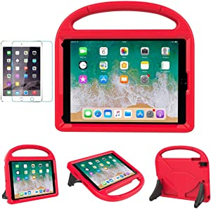 """iPad 9.7"""" 2018(Gen 6) / 2017(Gen 5) Case for Kids - SUPLIK Duable Shockproof Protective Handle Bumper Stand Cover with Screen Protector for 9.7 inch iPad Latest Model,Air 1/2,Pro 9.7, Red"""