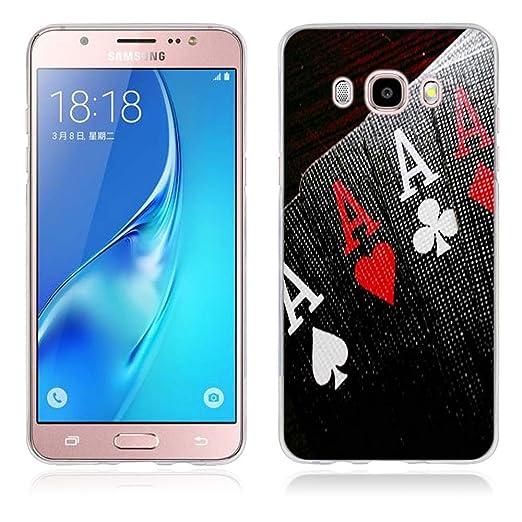 5 opinioni per Samsung Galaxy J5 (2016) Cover, Fubaoda Alta qualità [poker] artistico Painting