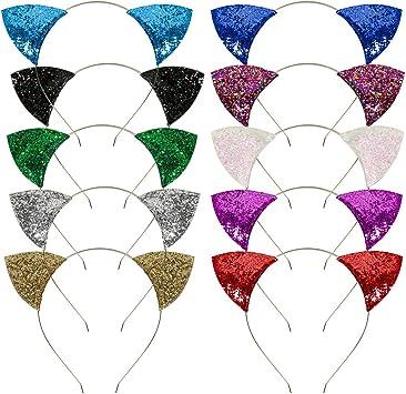 Mwoot Lot de 10 bandeaux pour filles avec oreilles de chat /à paillettes pour d/écoration de f/ête