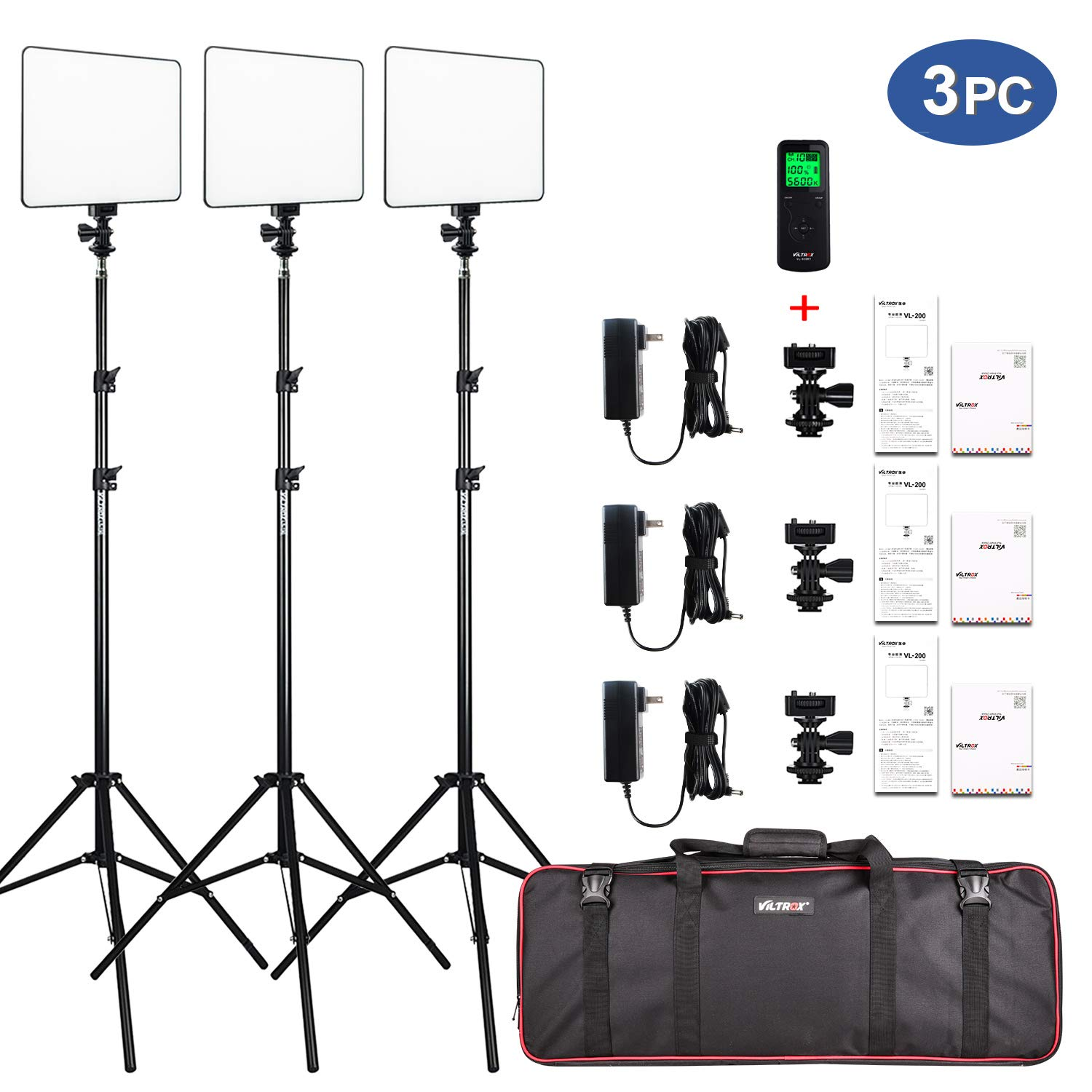 VILTROX VL-200 3 Packs Ultra Thin Dimmable Bi-color LED Video Light Panel Lighting Kit includes: 3300K-5600K CRI 95 LED Light Panel with Hot Shoe Adapter/Light Stand/Remote Controller and AC adapter ...