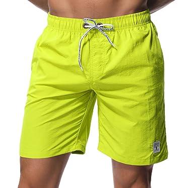 209a404f02 Men's Swim Trunks Short Quick Dry Slim fit Lightweight, No Mesh Lining  (Small (