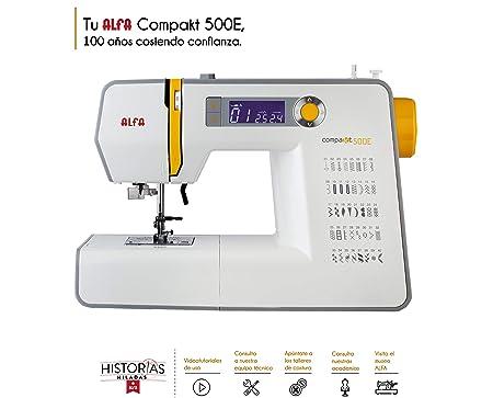 Alfa Compakt 500E Plus Máquina de Coser electrónica, compacta y portatil, Estructura metálica, Blanco, 36,5x16,9x25,4 cm