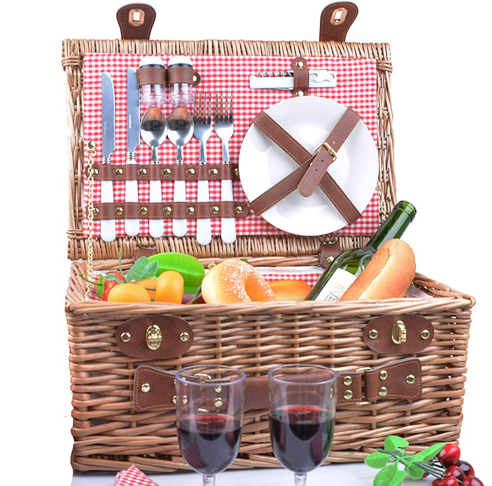 SatisInside New 2019 USA Insulated Deluxe 16Pcs Hamper Wicker Picnic Basket Set for 2 People - Reinforced Handle - Red Gingham by SatisInside