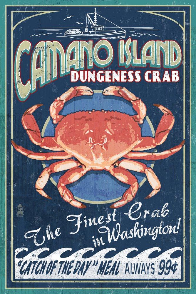 Camano島、ワシントン – Dungeness Crab Vintage Sign 36 x 54 Giclee Print LANT-40448-36x54 36 x 54 Giclee Print  B017E9X87Q