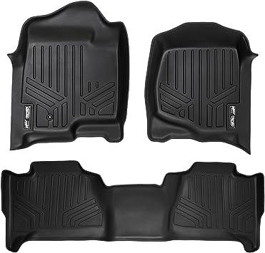 SMARTLINER Floor Mats 2 Row Liner Set Black for 2007-2014 Cadillac Escalade No Hybrid Models