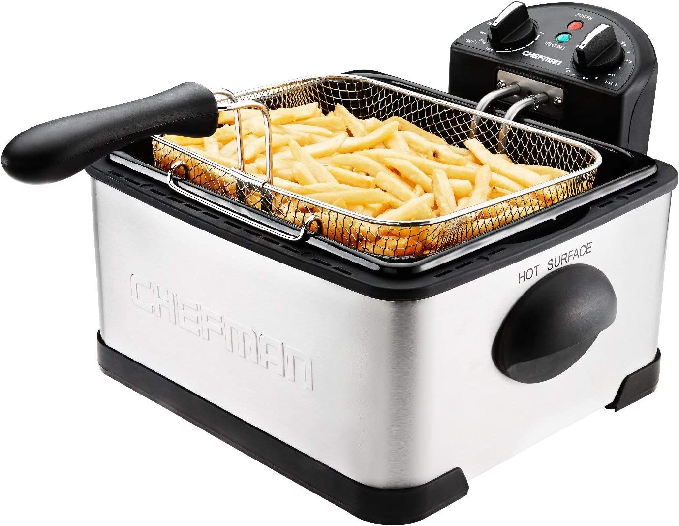 Chefman Deep Fryer with Basket Strainer Perfect for Chicken, Shrimp, French Fries and More, Removable Oil Container and Rotary Knob for Adjusting the Temperature, Stainless Steel, 4.5 Liter (Renewed)