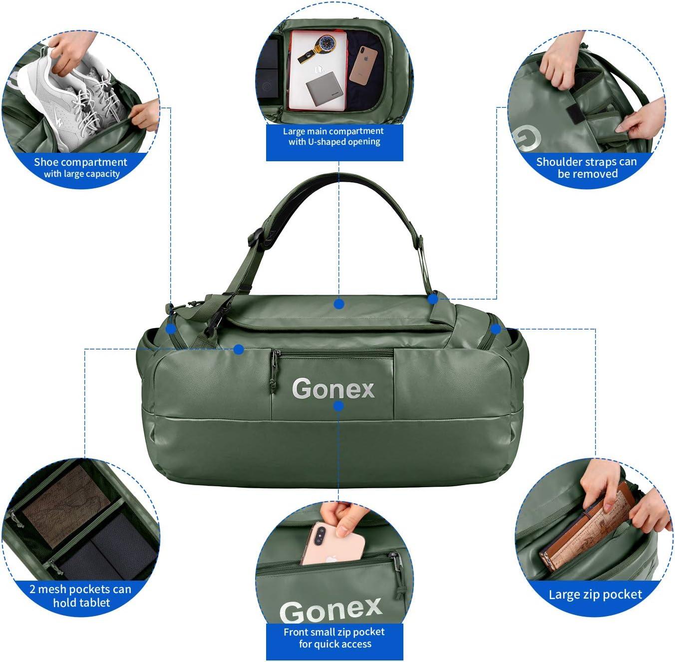 Gonex 60L Sac de Voyage Convertible en Sac /à Dos Imperm/éable Sac Sport Sac de Plage pour Randonn/ée Trekking Camping Motocyclette V/élo