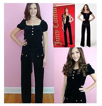 184d3d86c5a3 Image Unavailable. Image not available for. Color  Juicy Couture Puff Sleeve  Romper Wide Leg Jumpsuit Velour ...