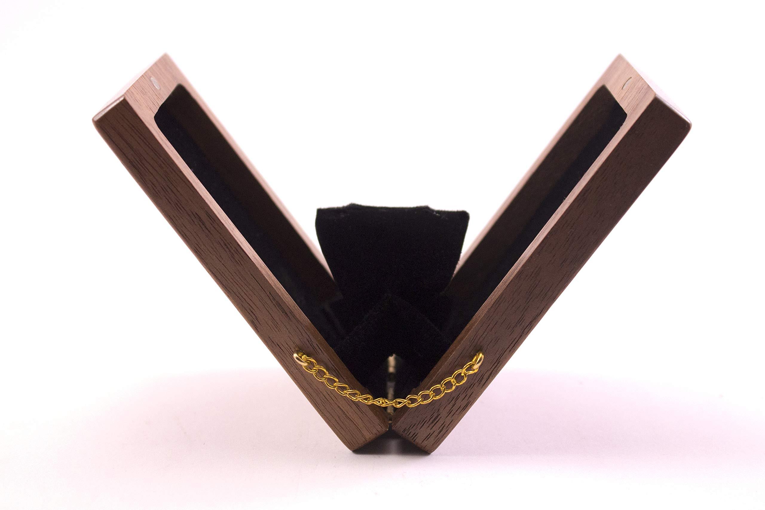 Engagement ring box Thin Wooden Ring Box - Proposal, Slim, Unique Proposal Ring Box - Walnut