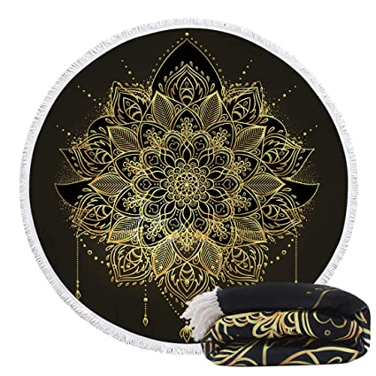 Artown Gold Floral Round Beach Towel, Funny Mandala Hippie Boho Mexico Soft Thick Microfiber Swimming Pool Rounded Blanket Yoga Mat Table Cover Sofa ...