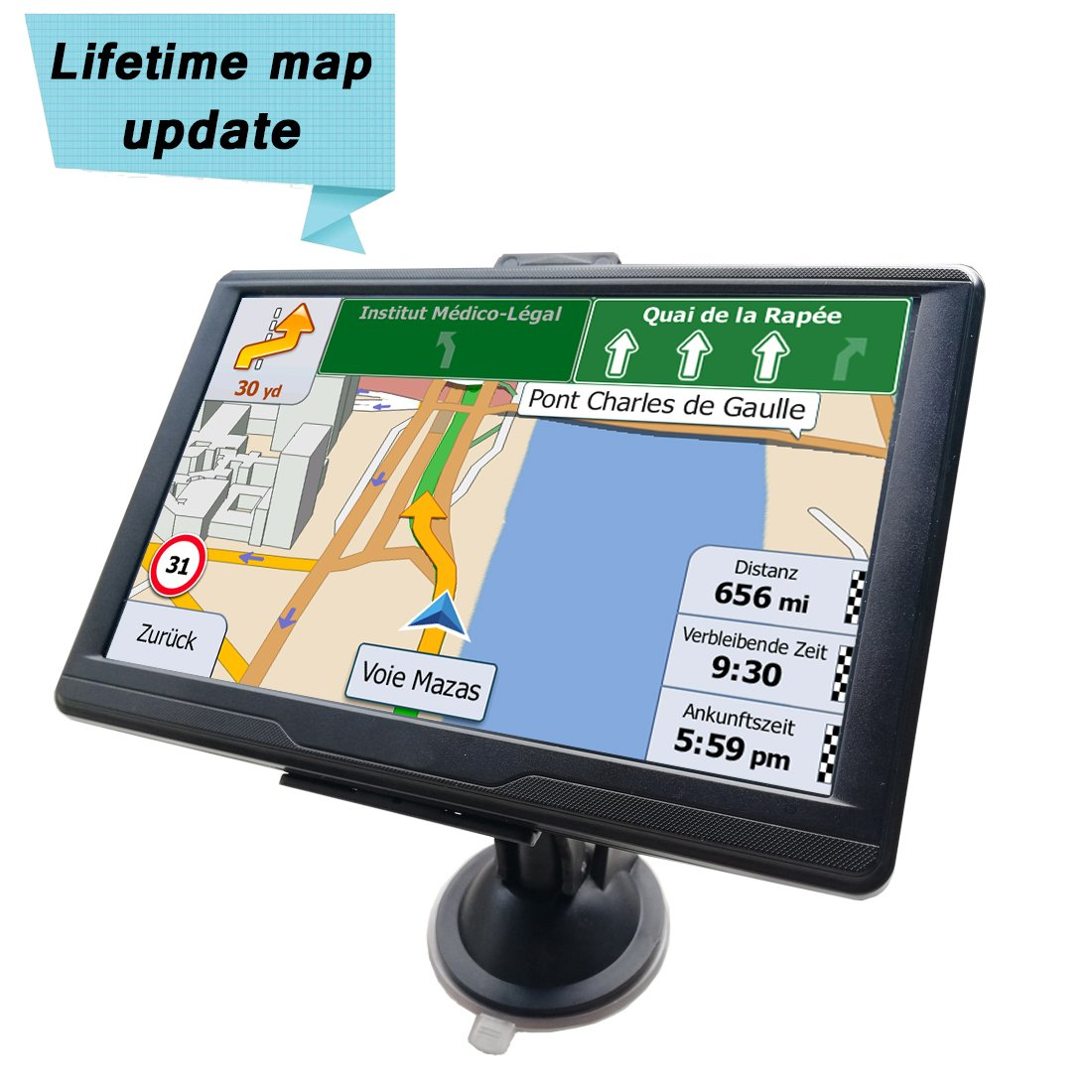 Sat Nav System Car GPS Navigation 7 Inches 8GB with Capacitive Touchscreen Include UK and EU Maps and Lifetime Free Updates