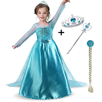 Snow Queen Elsa Princess Party Dress Costume with Accessories Elsa Dress up Wig Crown and Wand,for Girls 3-8years: Clothing