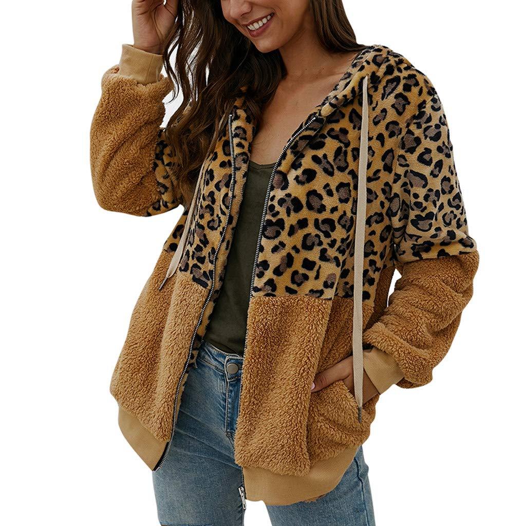 YANG-YI Fleece Blouse Women Autumn Ladies Leopard Print Patchwork Zipper Long Sleeves Cardigan Khaki by YANG-YI