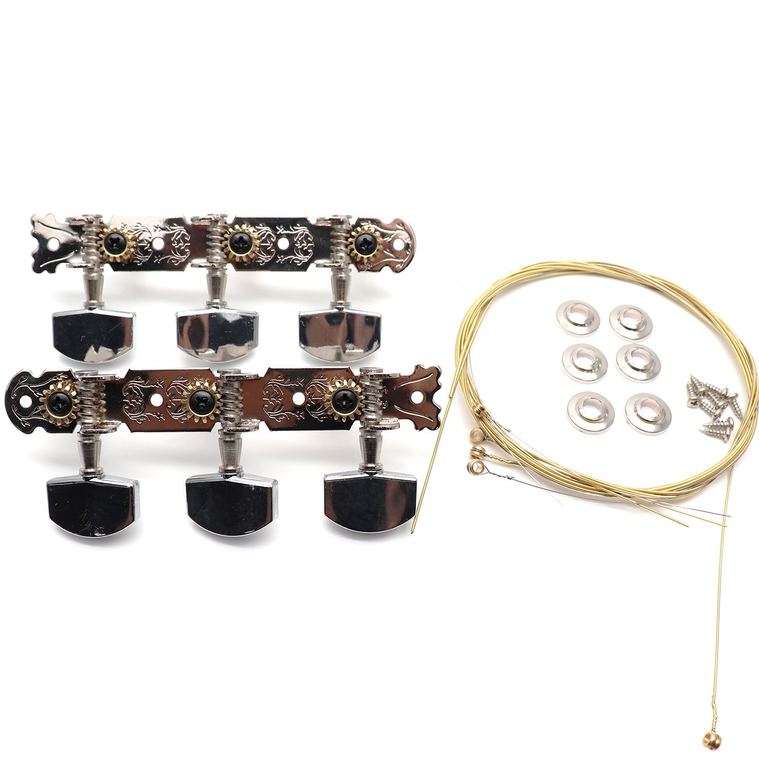 Timiy Set of 2 Guitar Tuning Keys-3 Left 3 Right Classical Guitar Tuners Tuning Pegs Keys Machine Heads, Guitar Strings Included