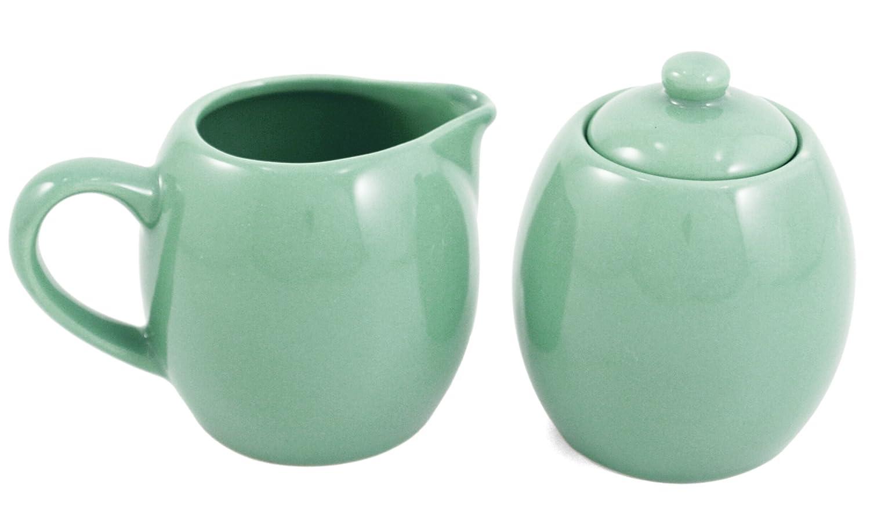 Seafoam Green Ceramic Creamer and Sugar Service Set with Lid Metropolitan Tea