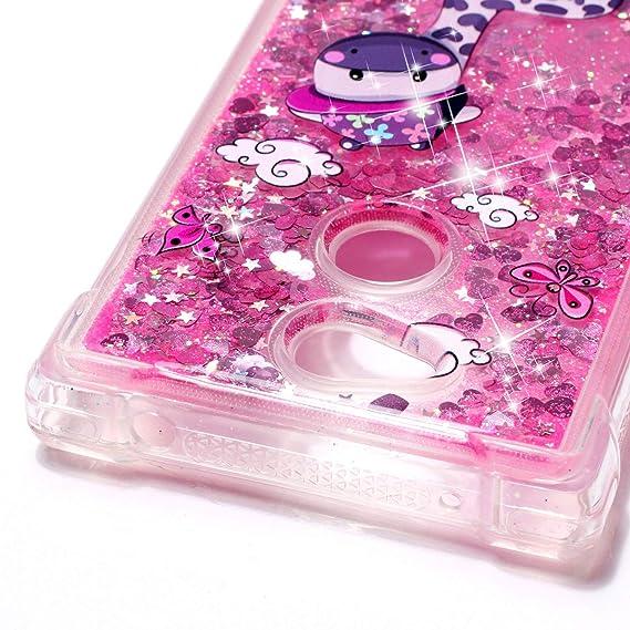 12b6f01f4c0 MOEVN Funda Sony L2 Purpurina Xperia L2 Glitter Brillante Liquida Clear  Transparente Bling Arena Carcasa de Silicona Ultra Delgada Case Protectora  ...