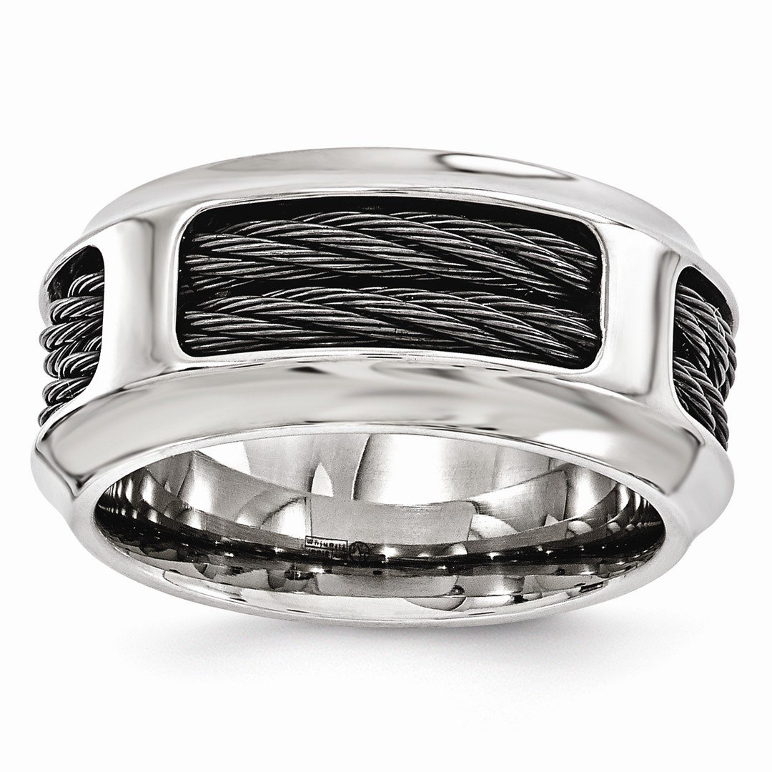 ICE CARATS Edward Mirell Stainless Steel Black Titanium Cable 10.75mm Wedding Ring Band Size 11.50 Man Fancy Fashion Jewelry Ideal Mothers Day Gifts For Mom Women Gift Set From Heart