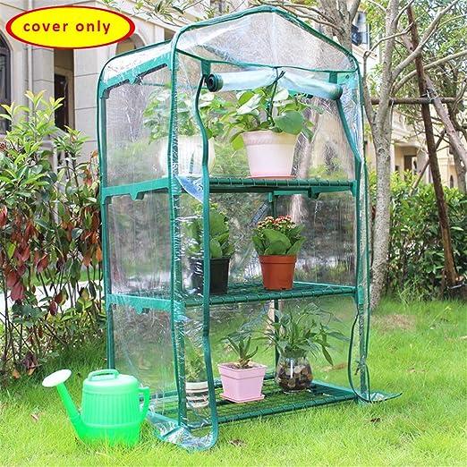 Asdomo - Cubierta de PVC para Invernadero de Plantas y invernaderos, portátil, Impermeable, para Caminar en Plantas, Mini Invernadero, 2 Niveles, Cubierta de Repuesto Reforzada de PVC: Amazon.es: Jardín