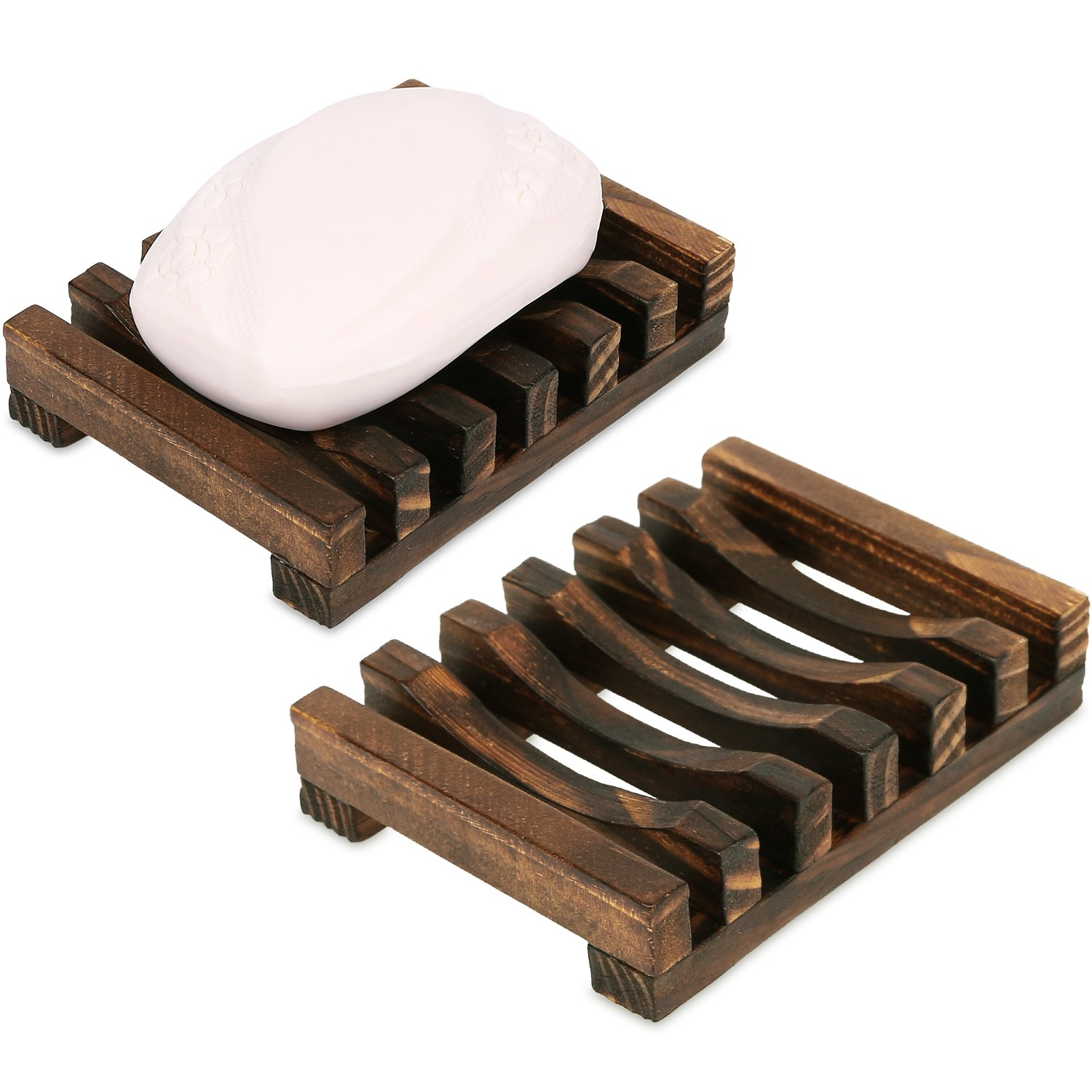 Anwenk Soap Dish Wooden Soap Saver Holder Sink Bathroom Shower Rectangular Hand Craft for Soap,Sponges and More(2 Pack) Wooden Soap Dish-2Pack