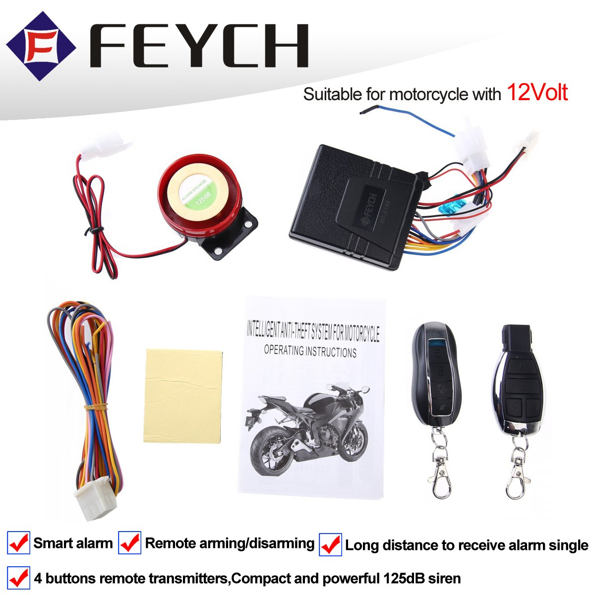 Non Intrusive No Cutting Wires Universal Fit for Motorcycle Scooter Quad Bike Motorcycle Compact Alarm System 12V 12 Volt with Remote Control