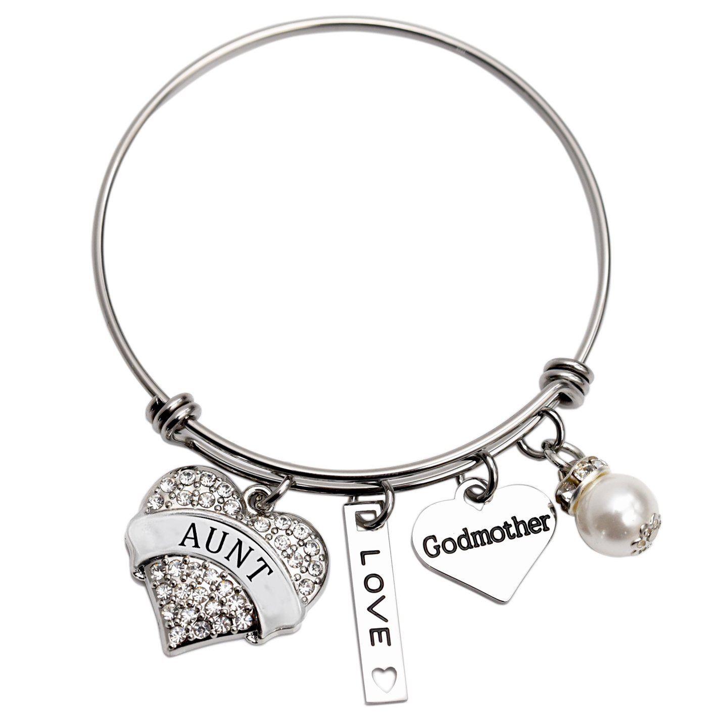 Aunt Godmother Bangle Bracelet Stainless Steel (White)