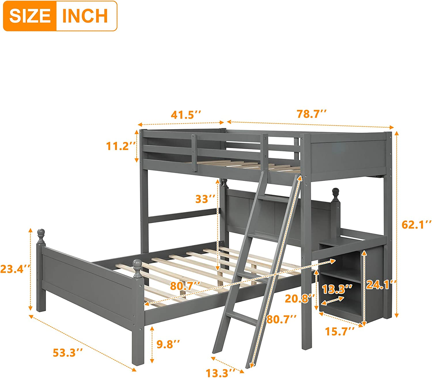 Twin Over Full Loft Bed for Kids Gray Solid Wood Bed Frame with Ladder Safety Rails and Cabinet Can Be Devided Into 2 Beds