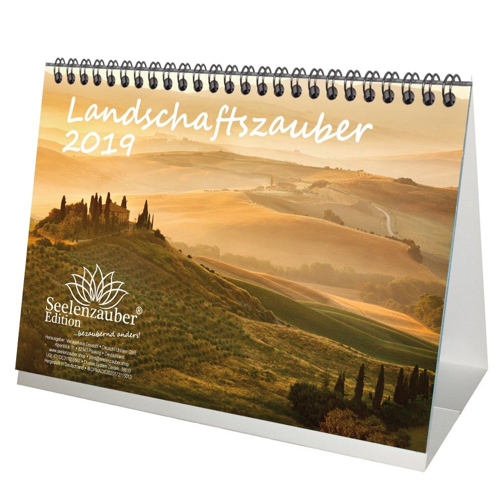 Landschaftszauber · DIN A5 · Premium Calendario da tavolo/calendario 2019 · paesaggio · vacanze · paesi stranieri · viaggi · Set regalo con 1 biglietto di auguri e 1 biglietto di Natale · Edition Seelenzauber Verlagshaus Deuschl