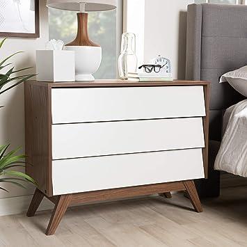 Baxton Studio Hildon Mid Century Wood 3 Drawer Storage Chest Mid Century White Walnut Brown Particle Board Mdf With Pu Paper Furniture Decor