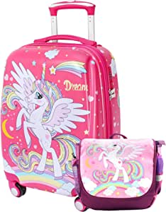 Kids Luggage Set for Girls with 4 Spinner Wheels Children Travel Carry On Suitcase Unicorn Toddler Luggage with Backpack 2pc Pink