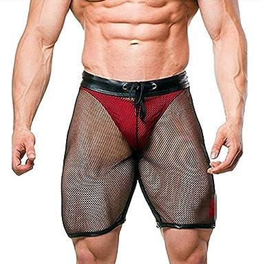 CHICTRY Men s Fishnet Shorts Leggings See Through Drawstring Lounge  Underwear Black Medium 52b1e7b4e