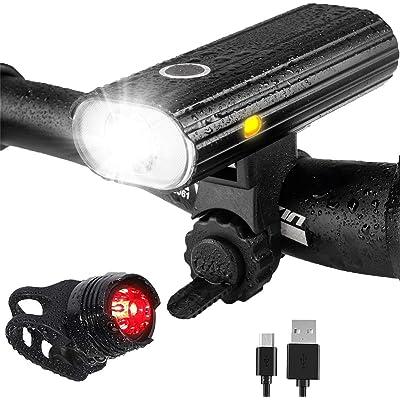 Leynatic Luz Bicicleta, Luces Bicicleta Recargable USB, Lámpara Bicicleta LED Impermeable, 800 Lúmenes Súper Potente, 5 Modos Iluminación, Luces Bicicleta Delantera y Trasera Kit