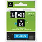 DYMO High-Performance Permanent Self-Adhesive D1 Polyester Tape for Label Makers, 1/2-inch, White Print on Black, 23-foot Cartridge, (45021)