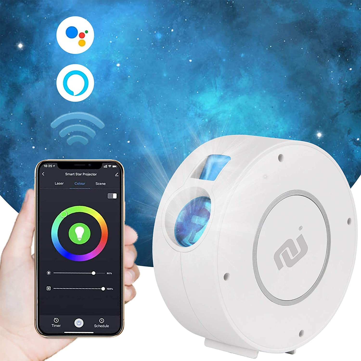 NUNET Galaxy Star Projector Sky LED Multi-Color Moving Nebula Cloud Night Light App & Voice Controlled Works w. Alexa & Google Home Quiet for Bedroom/ Theater / Game Room/ Camping (2021 Blue Stars)