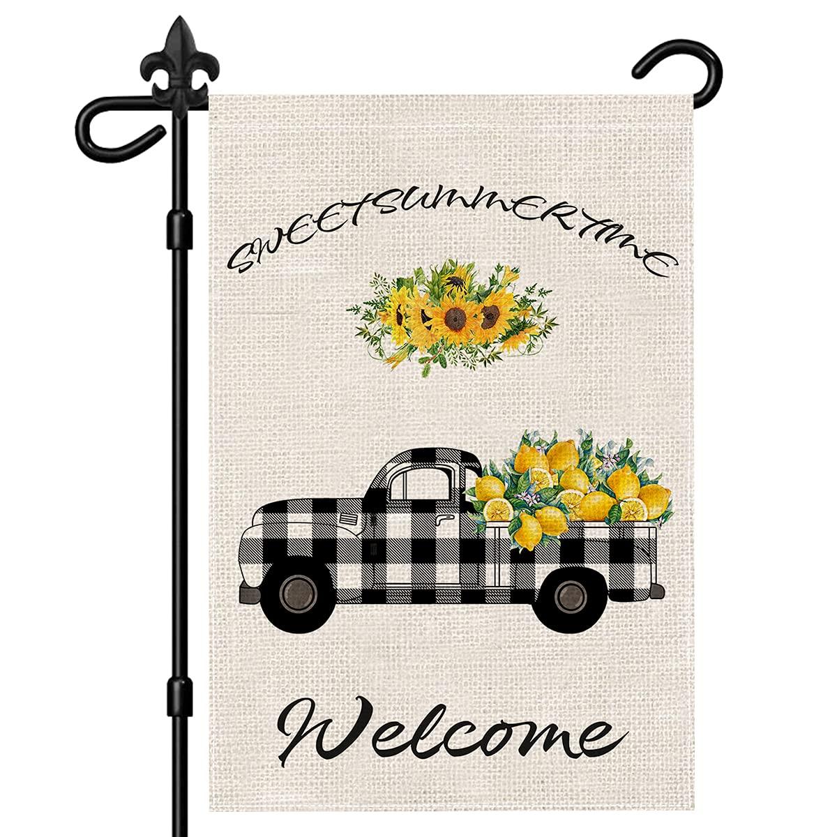 EnBrilite Sunflower Lemon Truck Welcome Garden Flag, Vertical Double-Sided Burlap Garden Flag, Rustic Truck Farmhouse Yard Flags, Spring Summer Seasonal Yard Outdoor Decoration 12*18 Inch