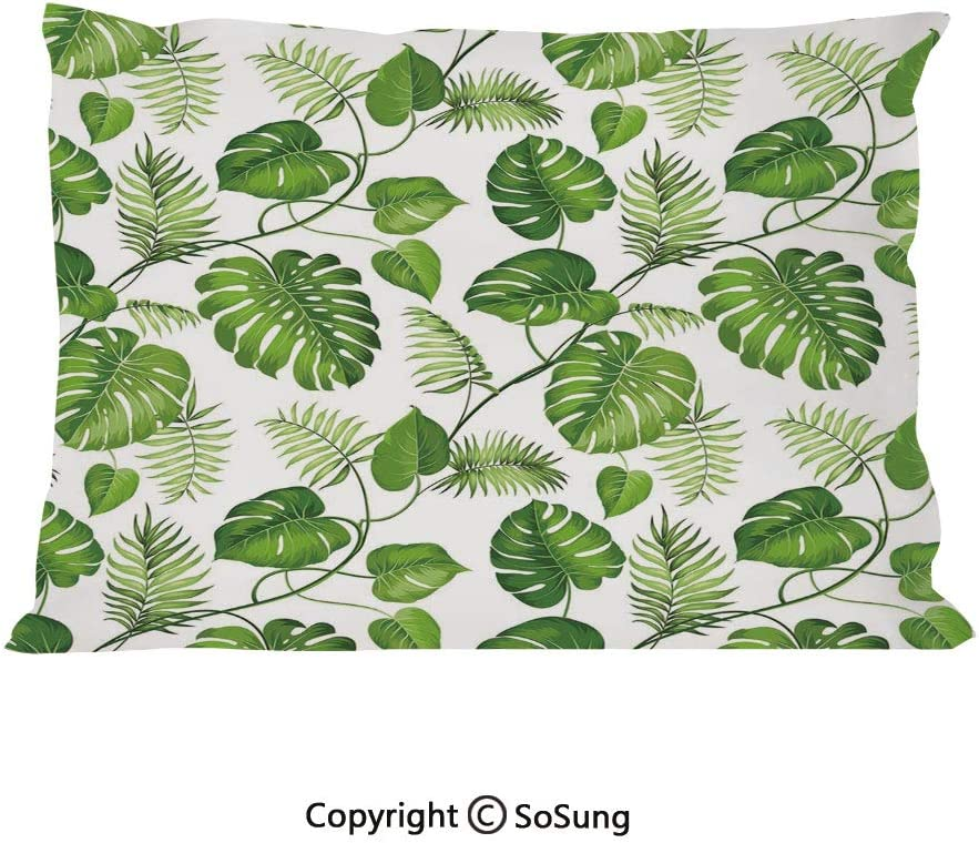 "Leaf Bed Pillow Case/Shams Set of 2,Brazilian Rainforest Foliage Nature Ivy Swirls Palm Banana Trees Leaves Art Print Decorative King Size Without Insert (2 Pack Pillowcase 36""x20""),Light Green"