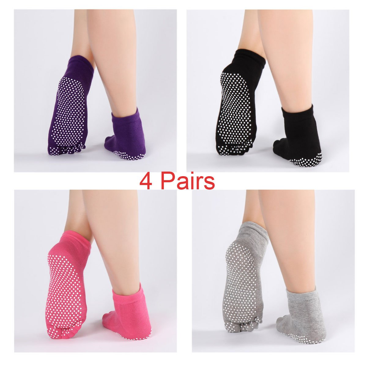 Yoga Socks Non Slip Skid Pilates Barre with Grips Cotton Socks with Toes for Women 4 Pack New Style