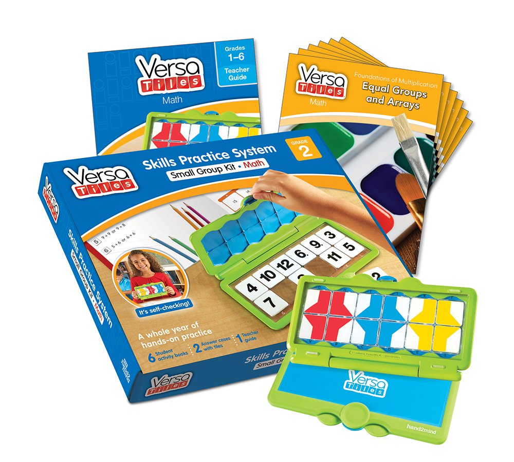 hand2mind VersaTiles Math an Engaging Puzzle Game Kit for Kids (Grade 2+) - Addition, Subtraction, Foundation of Multiplication, and Geometry | 6 Student Activity Books and 1 Teacher Guide by Versa Tiles
